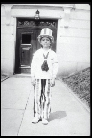 boy at the library 4th of July in the 1930s