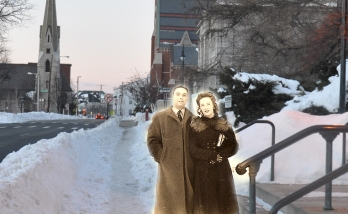 1946 couple in front of library today